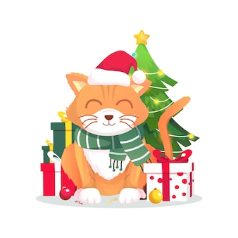 ギフトベクトルイラストとクリスマスかわいい猫