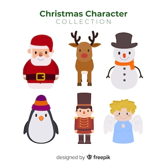 Collezione di simpatici personaggi natalizi in design piatto Vettore gratuito