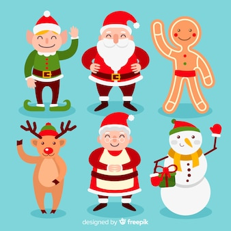 Christmas cute character collection in flat design