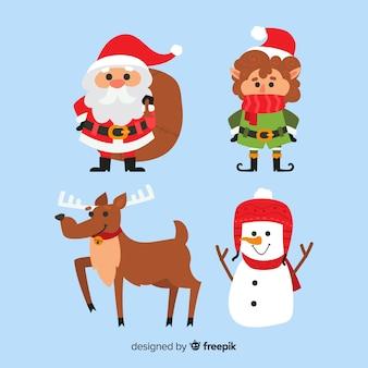 평면 디자인의 크리스마스 귀여운 캐릭터 컬렉션