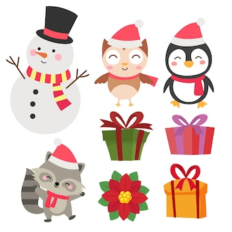 Christmas cute characters collection set