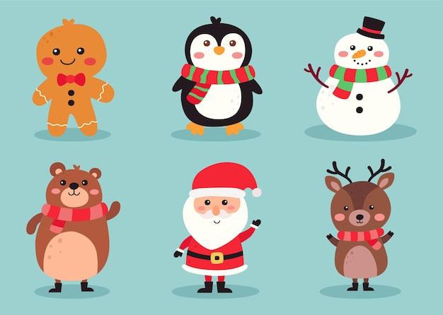 Christmas cute characters set isolated on blue background
