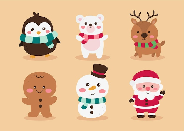 Christmas cute characters set isolated on cream background