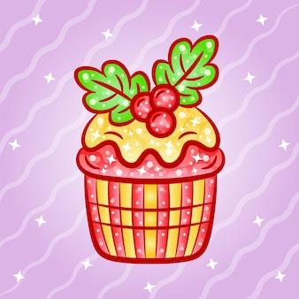 Рождественский милый кубок торт наклейка с градиентными цветами