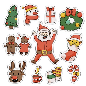 Christmas cute elements sticker set