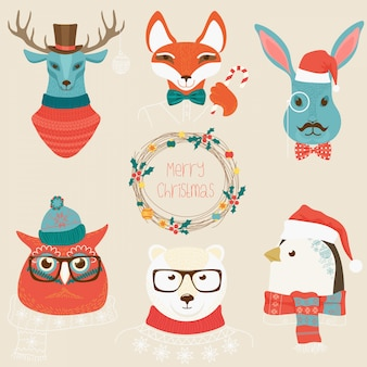 Christmas cute forest animals heads logo set