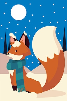 Christmas cute fox with scarf animal in the snow night scene illustration