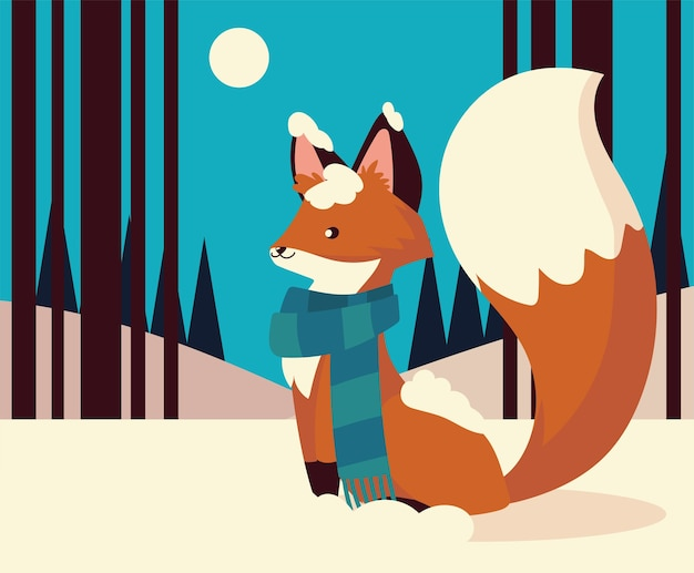 Christmas cute fox with scarf animal in the snow night scene