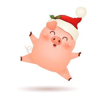 Рождественский милый, маленький дизайн персонажа из мультфильма свинья с рождественским санта-клаусом красная шляпа в восторге