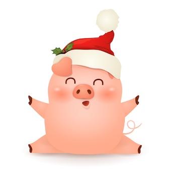 Рождественский милый, маленький дизайн персонажа из мультфильма свинья в красной шляпе санта-клауса