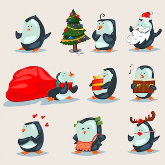 Christmas cute penguins  cartoon characters set isolated on a white .