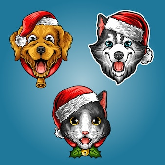 Christmas cute pets collection