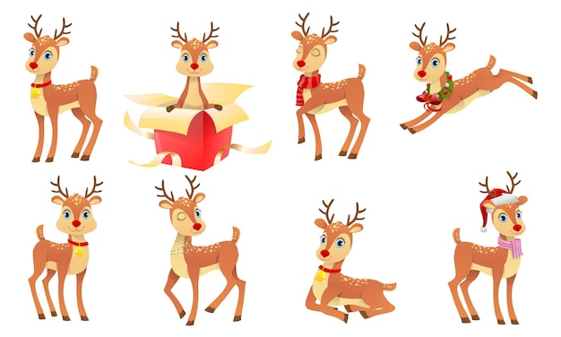 Christmas cute reindeers