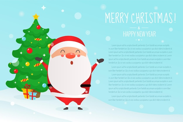 Рождество. милый санта-клаус и новогодняя елка.