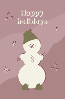 帽子のクリスマスかわいい雪だるまハッピーホリデーお祝いカードポスター漫画冬のキャラクターベクトル