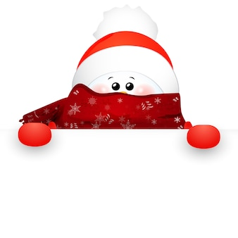 Christmas cute snowman with scarf and red santa claus hat and sign .