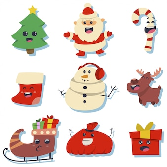 Christmas cute stickers with holiday kawaii characters: santa claus, tree, candy cane, stocking, snowman, gift box, reindeer, sled and bag.
