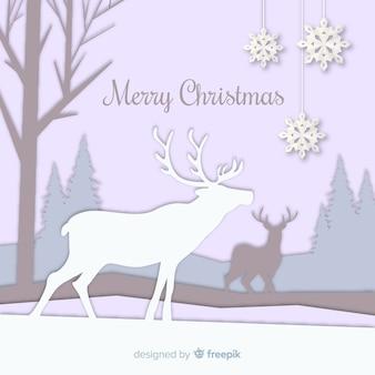 Christmas cutout reindeer snowflake background