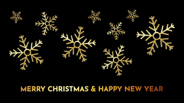 Christmas dark background with gold glitter snowflakes. new year snowflake holiday decoration. vector illustration