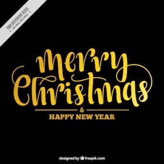 Christmas dark background with golden lettering
