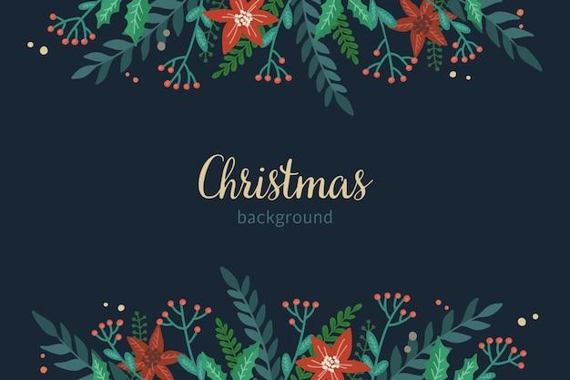 新年の植物とクリスマスの暗い背景