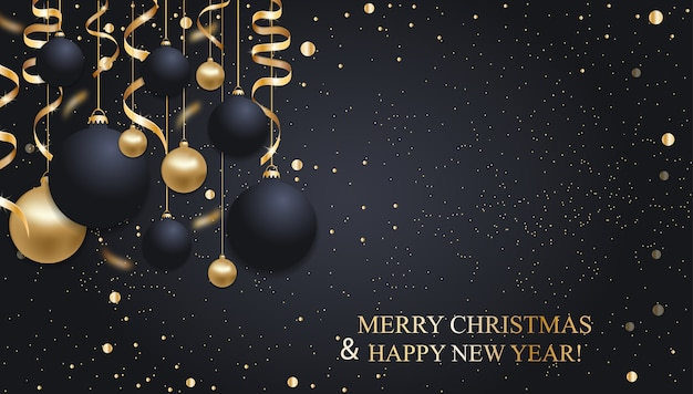 Christmas dark blue background with christmas balls and golden ribbons. happy new year decoration.