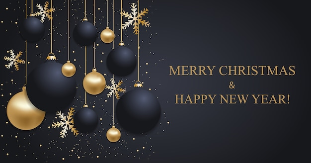 Christmas dark blue background with christmas balls and golden snowflakes. happy new year decoration.