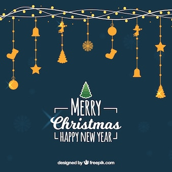 Christmas dark blue background with golden decorations