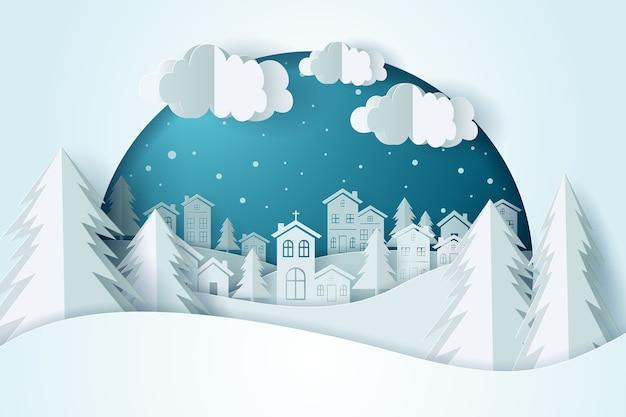 Рождество и городская деревня со снегом в зимний сезон.