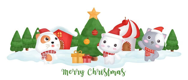 Christmas day  banner with  cute cats n the snow village.