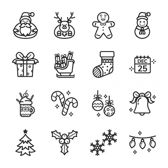 Christmas day icon set