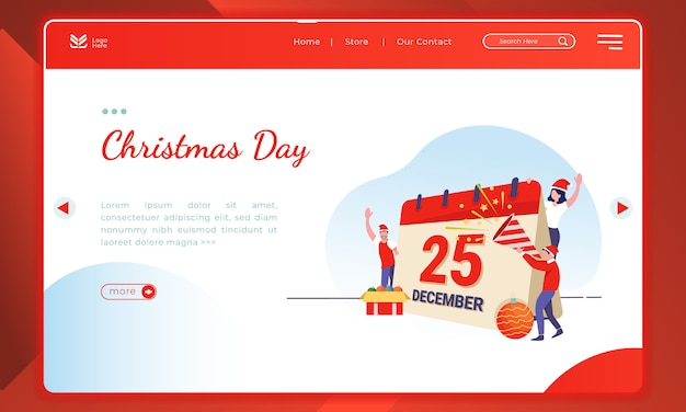 Christmas day illustration on landing page template