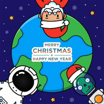 Christmas day in planet earth Premium Vector