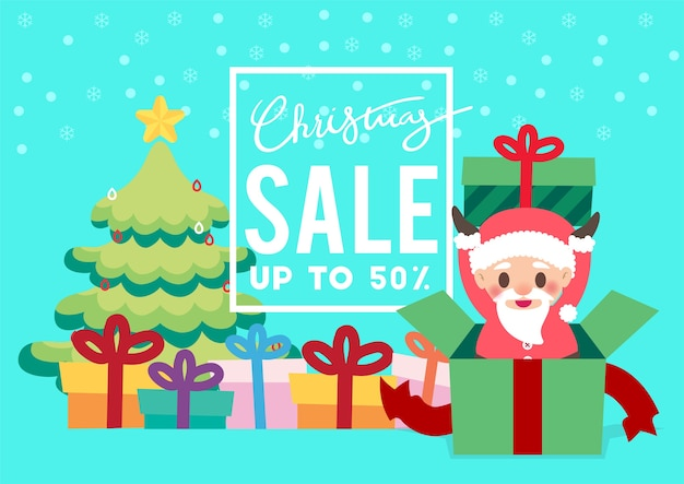 Christmas day promotion sale flyer background vector