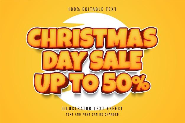 クリスマスの日のセールアップ編集可能なテキスト効果黄色のグラデーションスタイル