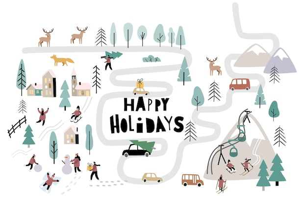Christmas day in village with people. vector winter landscape outdoor activities on new year.