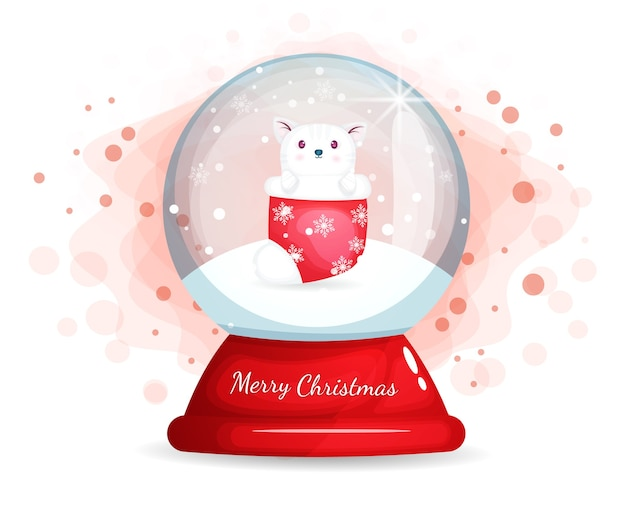 Christmas day with cute kitty in glass cloche