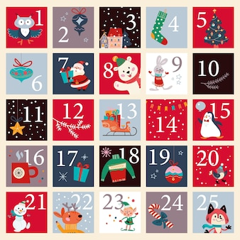 Christmas december advent calendar with numbered parts and cute winter santa claus, xmas elf, animals characters for cut down. vector flat cartoon illustration.