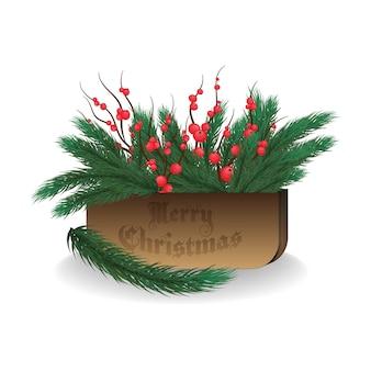 クリスマスの装飾、装飾。トウヒの枝、ヤドリギ。木製の箱。クリスマスツリーの装飾。孤立した白い背景。メリークリスマス、そして、あけましておめでとう。