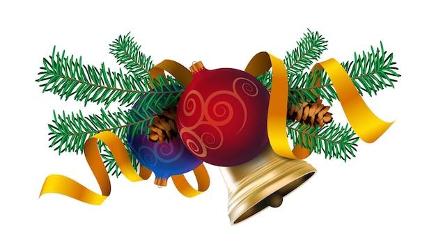 Рождественский элемент декора, реалистичное украшение новогодней елки с елочными шарами, золотым колокольчиком и красной лентой. векторные иллюстрации, изолированные на белом фоне