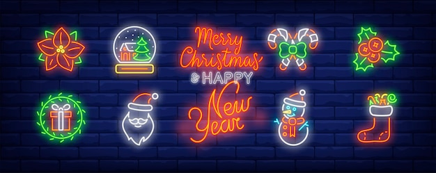 Christmas decor symbols set in neon style