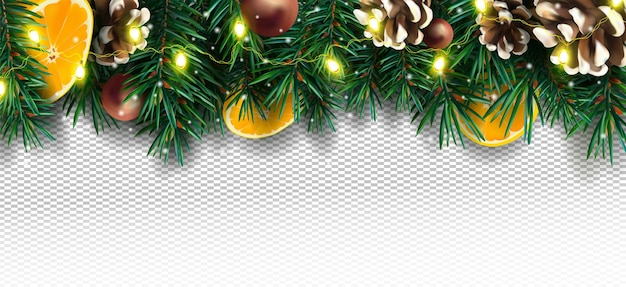 Christmas decor with of pine branches pine cone orange sparkles and christmas light garland on transparent background