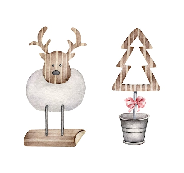 Christmas decor.wooden decorative deer and christmas tree