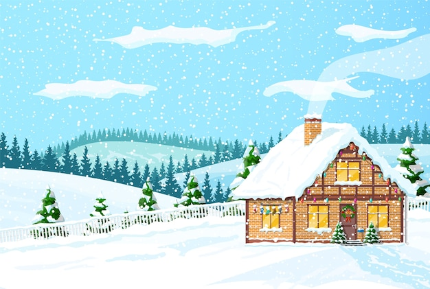 Christmas decorated cottage background