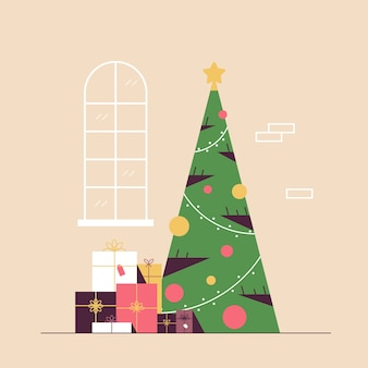 Christmas decorated green fir tree with gift present boxes merry xmas happy new year holiday celebration concept vector illustration
