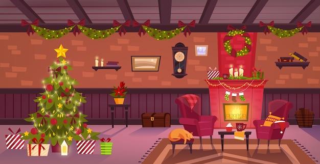 煙突とクリスマスの装飾が施された部屋のインテリア