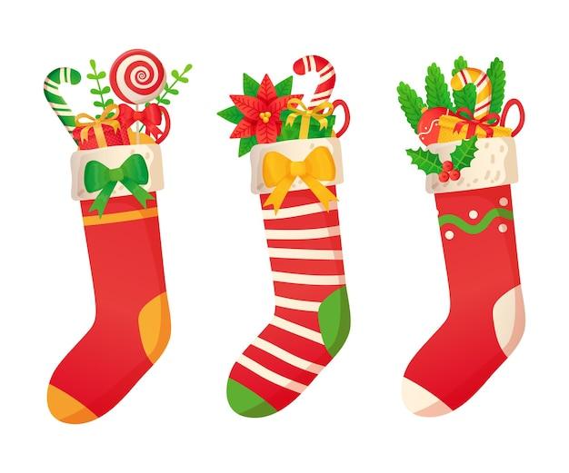 Рождественские носки с подарками в мультяшном стиле