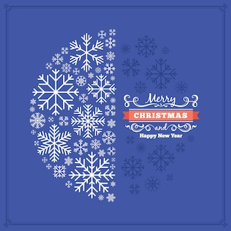 Christmas decorating card made of snowflakes