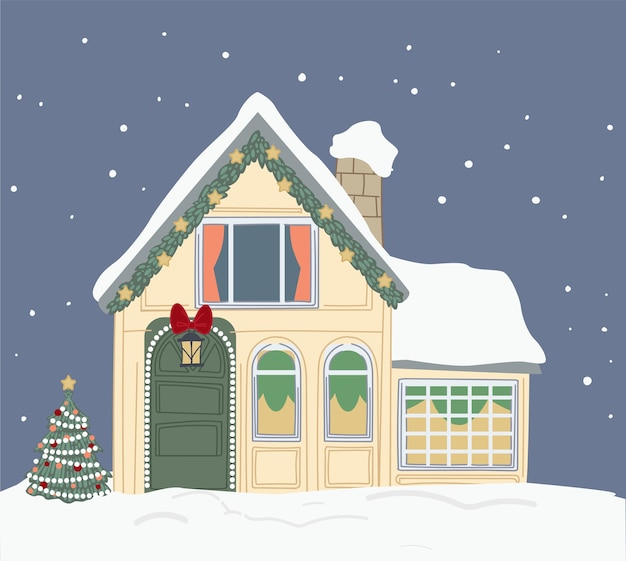 Christmas decoration on building with roof covered with snow. house with bells and garlands, pine tree outside. celebration of xmas winter holidays and new year. exterior of home. vector in flat style