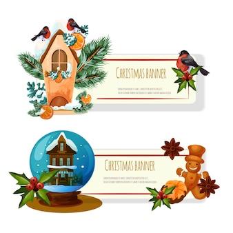 分離されたクリスマスの装飾カードとバナー